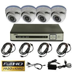 Комплект видеонаблюдения из 4-х камер и видеорегистратора Oltec AHD-QUATTRO-FullHD Dome