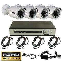 Комплект видеонаблюдения из 4-х камер и видеорегистратора Oltec AHD-QUATTRO-FullHD